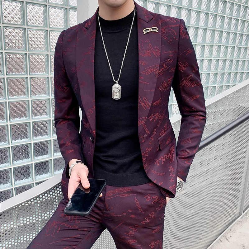 カスタムファッションナイトクラブ男性の韓国語バージョンハンサムカジュアルスーツ男性のスーツ美容師のウェディングドレス