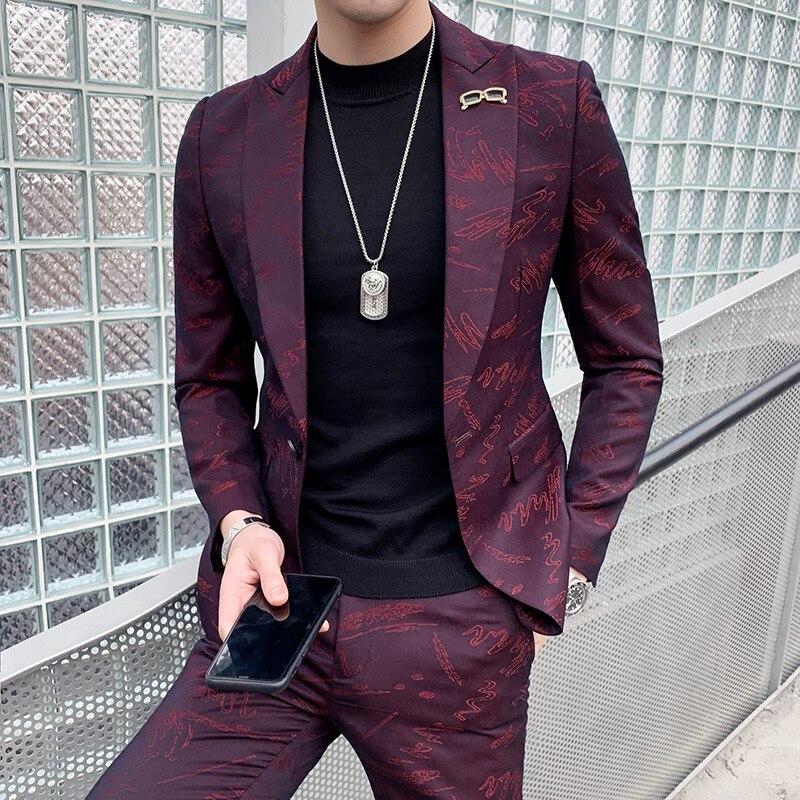 Personnalisé De Mode discothèque costume masculin version Coréenne beau costume décontracté hommes de costume de salon de coiffure de mariage robe