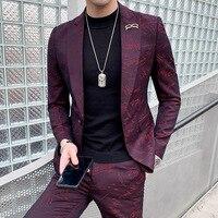 custom Fashion nightclub suit male Korean version handsome casual suit men's suit hairdresser's wedding dress
