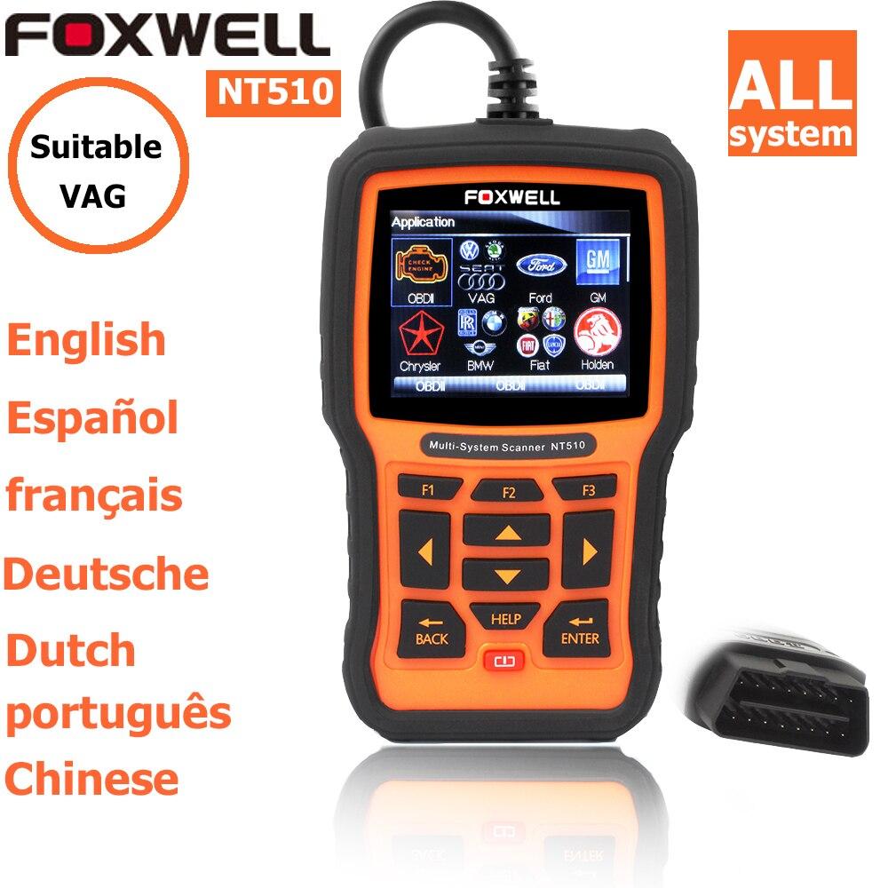 Prix pour Foxwell nt 510 pour vw vag audi seat skoda obd2 autoscanner de diagnostic scanner code lecteurs scan outils OBD2 OBD II De Voiture Outil