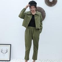 2019 Women Autumn Spring Army Green Tracksuit Single-breasted Turn Down Jacket Tops+Pants Two Piece Set Female Streetwear Suits александр амфитеатров об одном ущелье и грузинской ундине