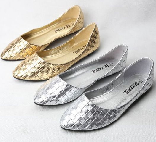 2017 brand new women's flats shoes, diamond knitted Soft Pu leather gold  silver point toe flats womens, PR153 plus size 40 41 - Gold Toe Flats Promotion-Shop For Promotional Gold Toe Flats On