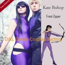 Free Shipping DHL Sexy Women Kate Bishop Costume Purple Color Lycra Spandex Superhero Costume Zentai Catsuits SHS418
