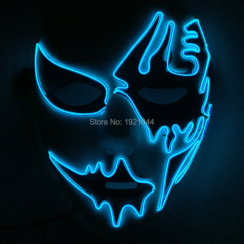 10 Color Choice EL Wire Blinking Mask with DC-3V Steady on Driver EL wire rope cable Party Mask for Festival Decor