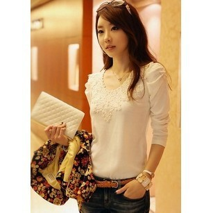 Specials 2015 Spring and autumn Korean version of the new large size women lace blouse women Slim, long sleeve