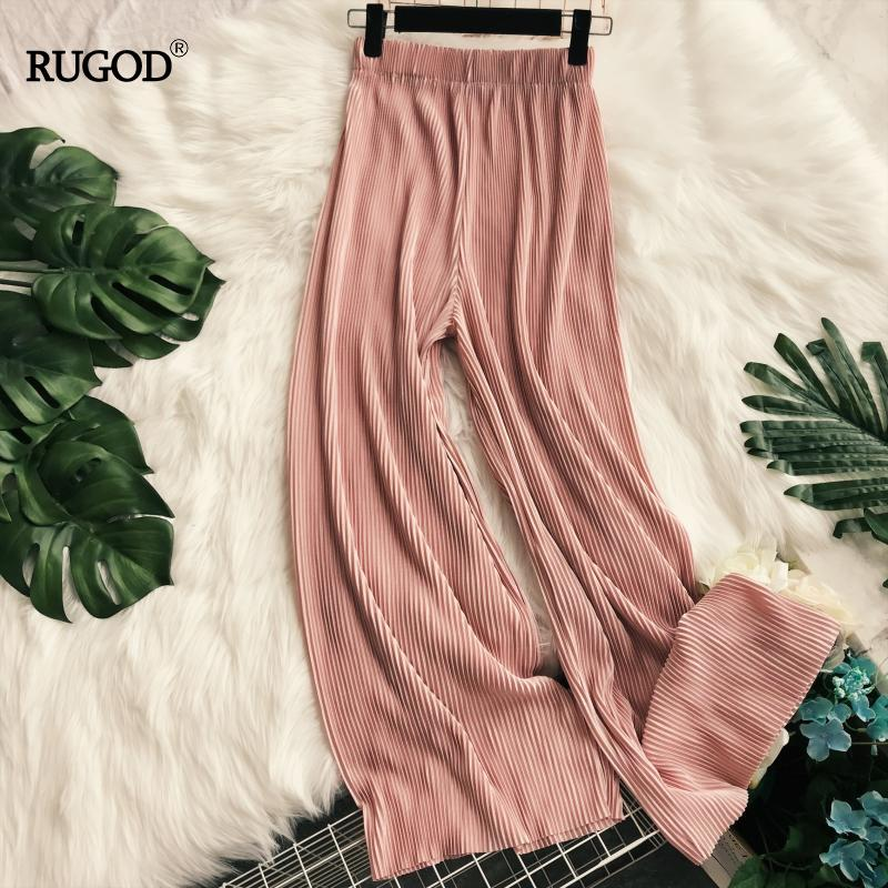 RUGOD Elegant Loose Pleated Chiffon Women Long Pants High Waist Elastic Wide Leg Pants Multicolor Plus Size Summer Trousers