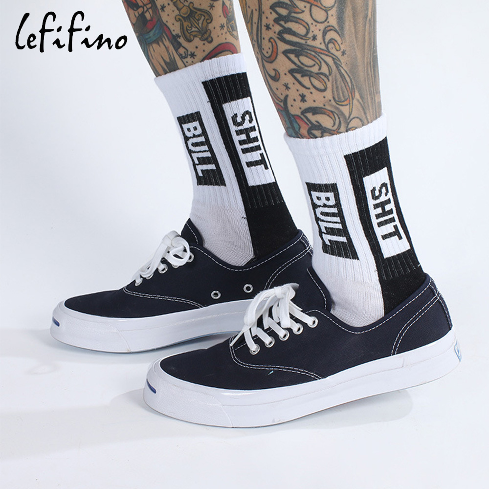 Fashion Harajuku Streetwear Men Hip Hop Funny Socks Letter Crazy Creative Teen Socks White Black Cotton Skateboard Socks Ne73830