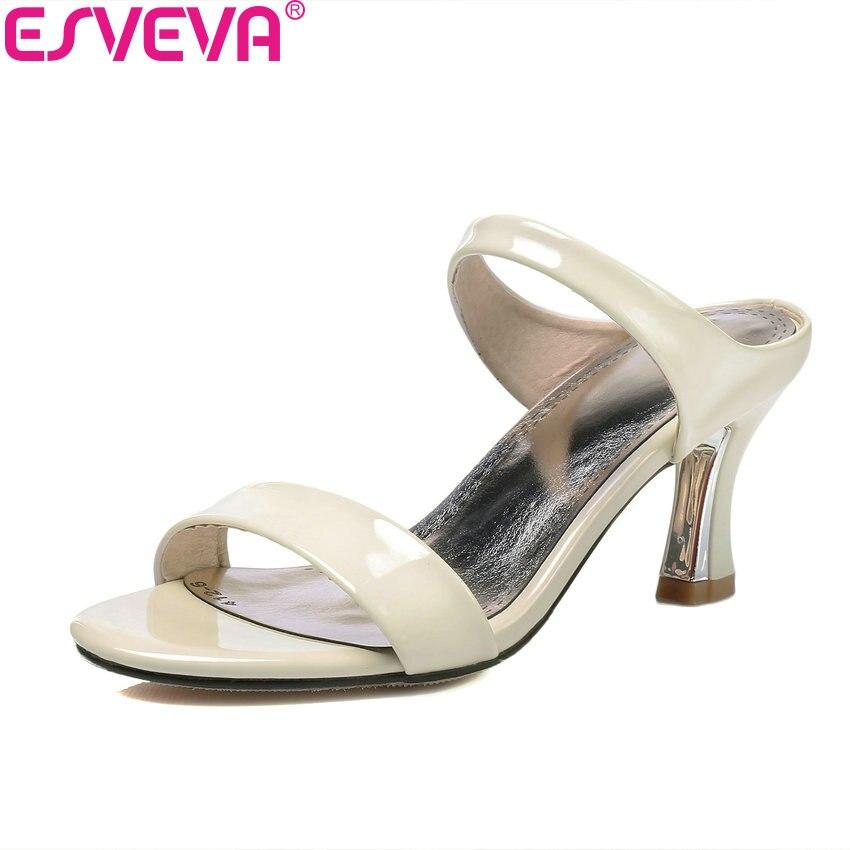 6e7e19dd ESVEVA 2018 nuevo Thin Heel Slip on zapatos de verano elegante tacón bombas  Peep Toe blanco zapatos de moda del partido tamaño grande 34-43