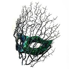 Moda z kwiatami i piórami kolorowa koronkowa maska wenecka Masquerade bal halloweenowy Party gałęzie drzewa poroża maski kostiumy