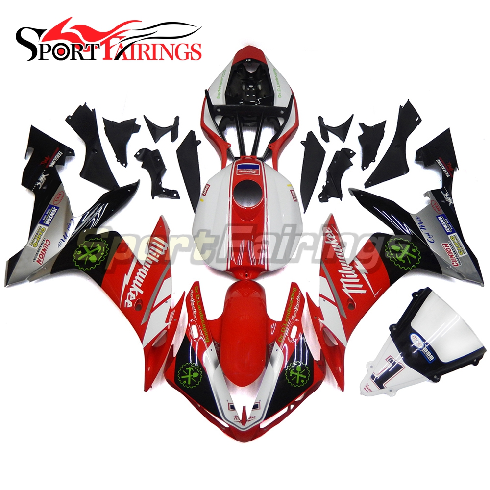 Red White Black Fairings For Yamaha R1 04 05 06 Injection ABS Plastic Full Motorbike Fairing Kit YZF1000 2004 2005 2006 Bodywork high match injection mold fit for ducati 03 04 749 999 2003 2004 bodywork fairing kit brand logo decal 4 free gifts