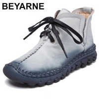 BEYARNE New women boots Leather Winter Boots Handmade lace-up Woman Shoes Casual Full Genuine Leather Ankle Boots For Women