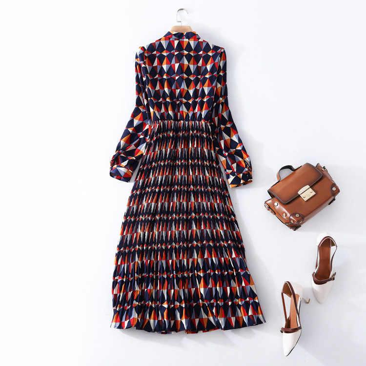 Haute qualité impression plissée travail robe nouvelle marque piste femmes printemps été robe de mode bureau dame à manches longues a-ligne robe