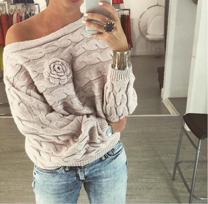 2020 Women Off Shoulder Knitted Sweater Twist Batwing Sleeve Slash Neck Solid 3D Rose Flower Pullover Autumn Loose Sweaters
