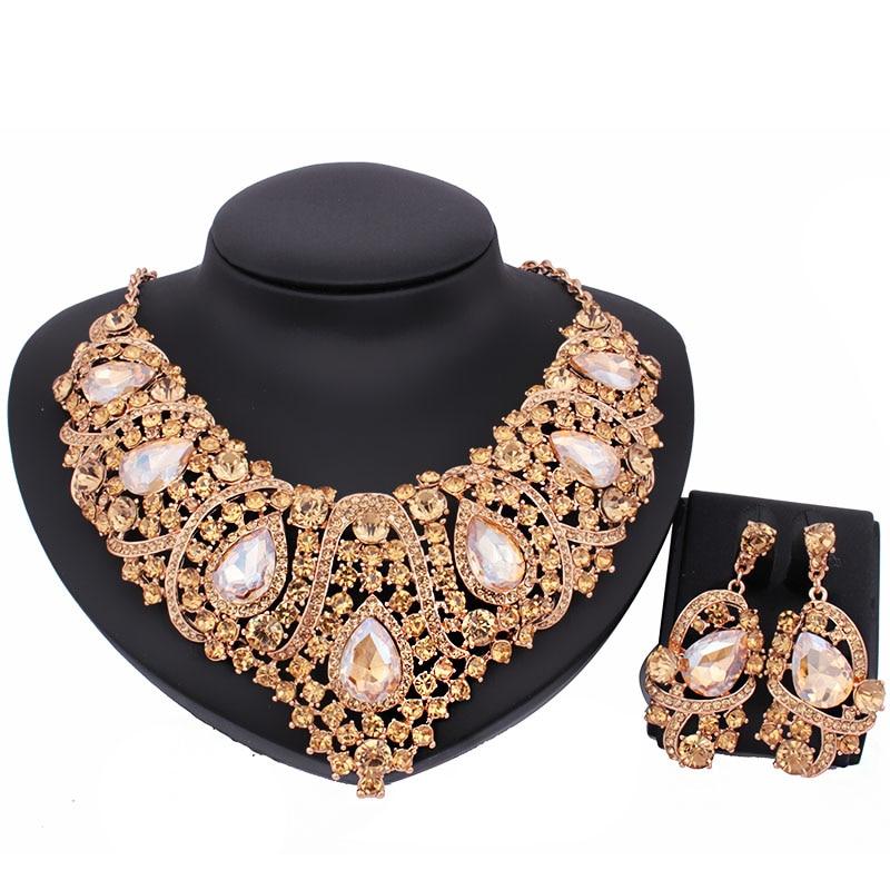 New Fashion Czech Rhinestone Crystal Wedding Jewelry Sets African Jewelry Set Necklace Earrings