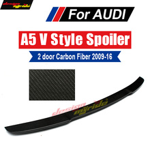 For Audi A5 A5Q Carbon Rear Spoiler Tail V-Style Coupe Fiber Trunk Wing 2-Doors car styling 09-16
