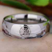 Free Shipping USA UK Canada Russia Brazil 8MM Comfort Fit Firefighter Fireman Silver Domed Men S