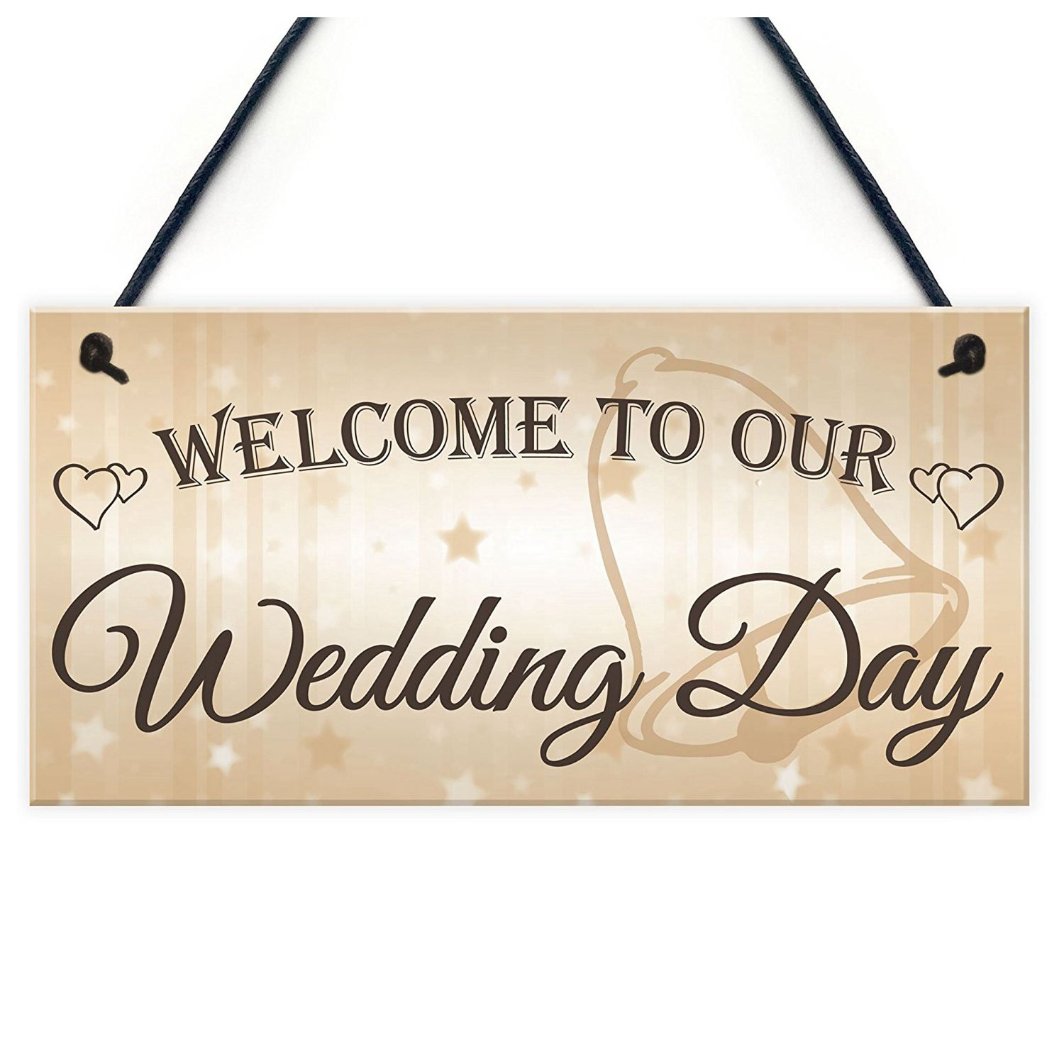 Welcome To Our Wedding Day Hanging Decor Plaque Guest Entrance ...