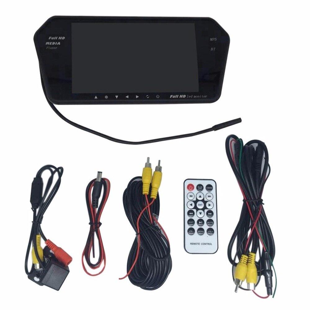 Vue Arrière de voiture Kit 7 pouce LCD Bluetooth Miroir Moniteur Avec Caméra de Recul 170 Degrés Grand Angle Lentille Nocturne de Soutien vision