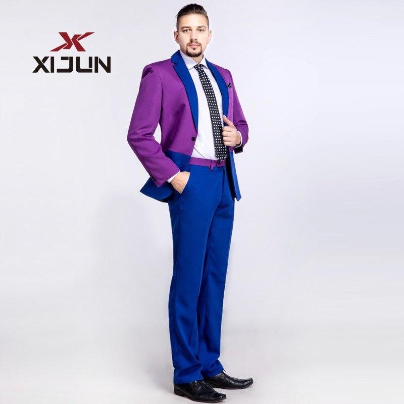 Xijun Fashionable 2 Piece Men Suits For Wedding (Jacket+Pants) Slim fit Formal Royal Blue and Purple Groomsmen Tuxedo Man Suit