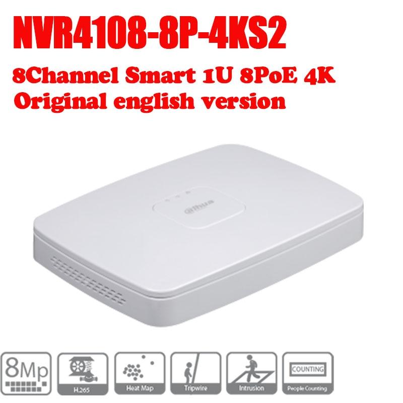 DAHUA POE DH-NVR4108-8P-4ks2 NVR4108-8P-4KS2 NVR with 8 poe ports Smart 1U Mini NVR 4k h265 Network NVR 2014 new arrival dahua smart 1u nvr with p2p mini nvr nvr4104 nvr4108 nvr4116 free dhl shipping