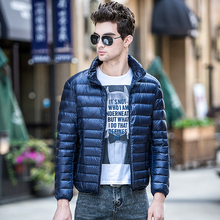 Solid Color Fashion Casual Stand-up Collar White Duck Down Jacket Winter 2019 New High-Quality Nylon Thin Men S-5XL