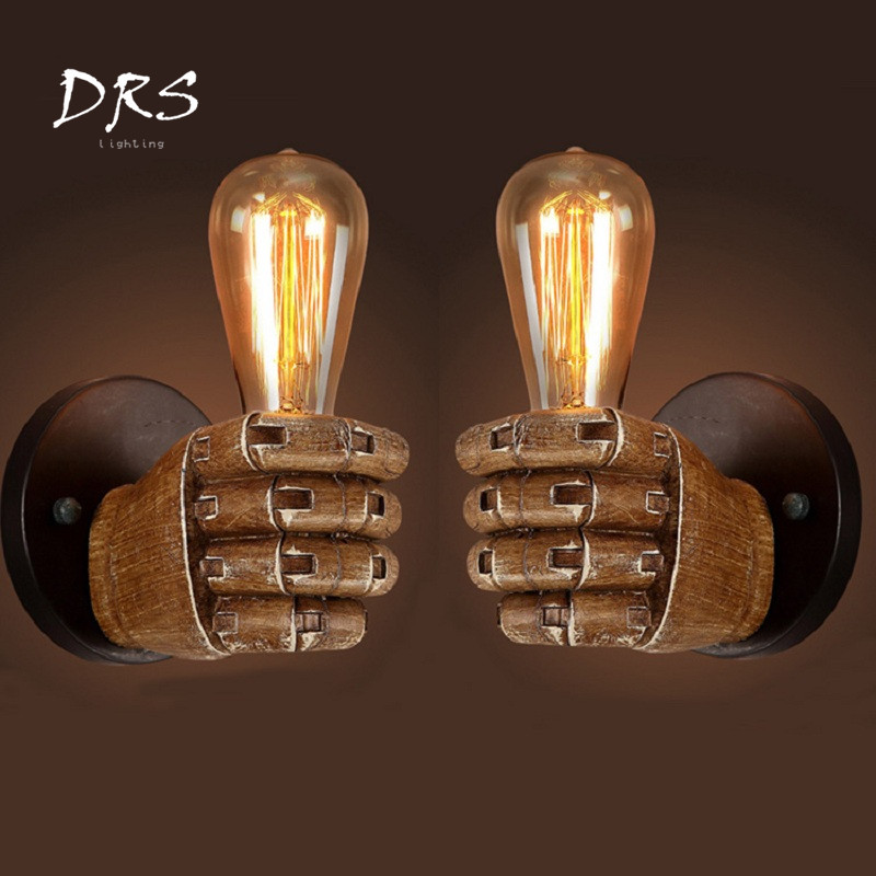 DRS Industrial Fist Wall Lamp Creative Resin Wall Light Decoration Cafe Bar Restaurant Bedroom Wall Lamp E27 90v 260v|LED Indoor Wall Lamps| |  - title=