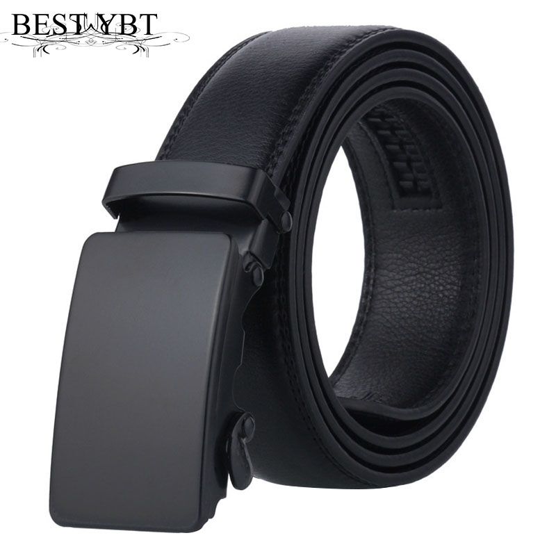 Best YBT Men   belt   trend black quality Imitation leather Alloy Automatic buckle   belt   fashion simple Men Business affairs   belt