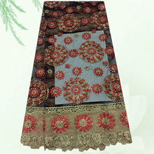 (5yards/lot) SDPN53,hot sale tulle embroidered lace fabric with rhinestone decoration
