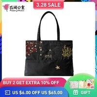 Flower Princess Brand Women Fashion Large Tote bag Nylon Embroidery Shoulder Bag Ladies Teenagers Girls Handbag Bolsa Feminina