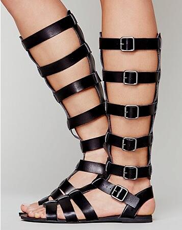Women fashion gladiator boots knee high with open toe buckle strap cutouts design slingbacks shoes ladies Summer flat sandals
