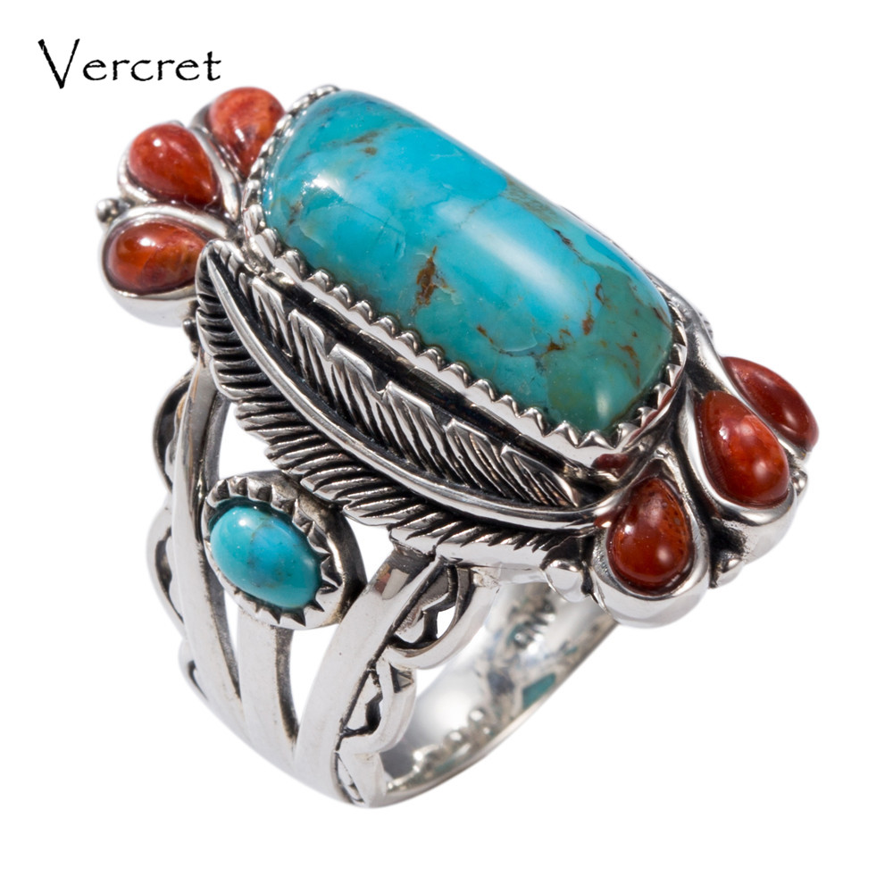 Vercret Native American Indian Natural 925 Silver Turquoise Stone Rings For Women Wedding Vintage Coral Fine Jewelry Rings баффи санти мари buffy sainte marie native north american child an odyssey