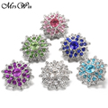 6PCS/lot Mrs Win Snap Jewelry Rhinestone Crystal Flowers Snap Buttons for 18MM Snap Bracelet Bangle Jewelry
