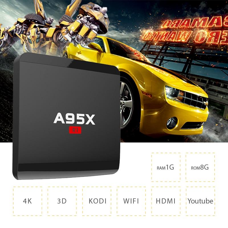 Оригинальный A95XR1 Умные телевизоры коробка WIFI2.4G 1G8G Телевизионные приставки media player Amlogic S905W 4 ядра android 7.1.2 4 К HDM1 2.0 ТВ коробка