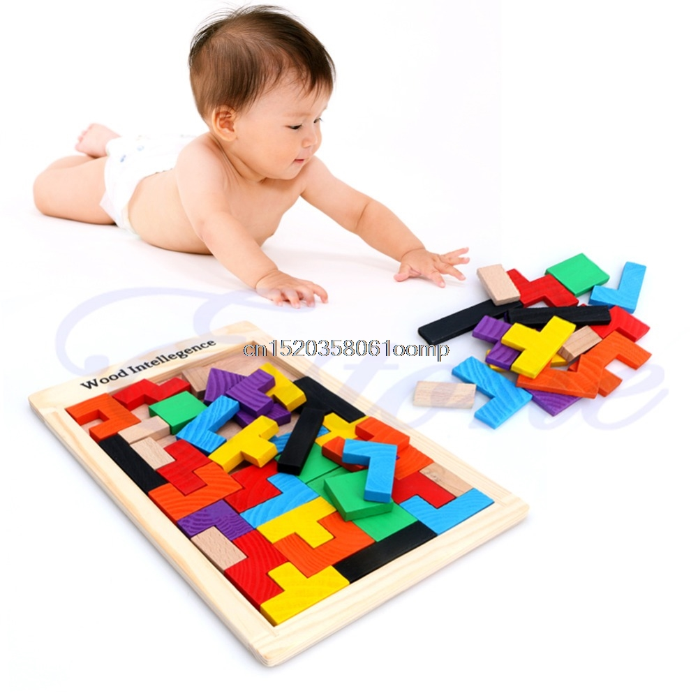Tangram Логические головоломки тетрис игры детей деревянные развивающие игрушки