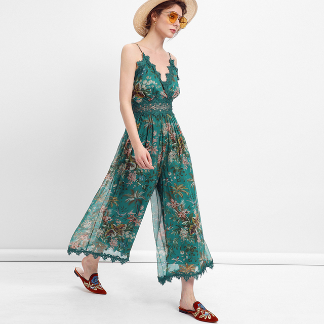 9da09974cc0 2018 Green Floral Print chiffon Women Playsuits sexy backless sleeveless  deep v-neck lace Summer romper Elegant chic playsuits