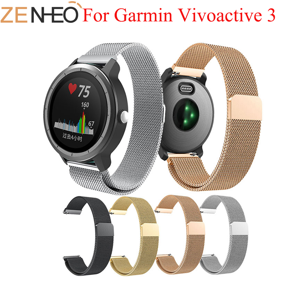 Milanese Loop Replacement Strap For Garmin Vivoactive3 Wristband 20mm Band Stainless Steel Wrist Strap For Garmin Vivoactive 3