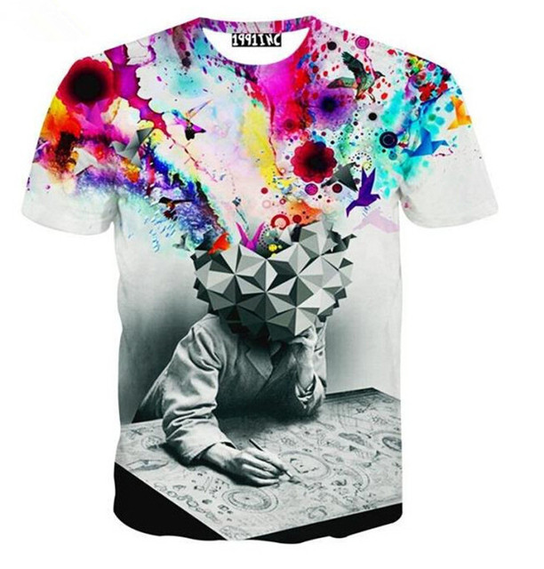 5e4477e8 Men's Fashion 3D Animal Creative T-Shirt, Finger/flash/crow/monkey 3d  printed short sleeve T Shirt M-XXL