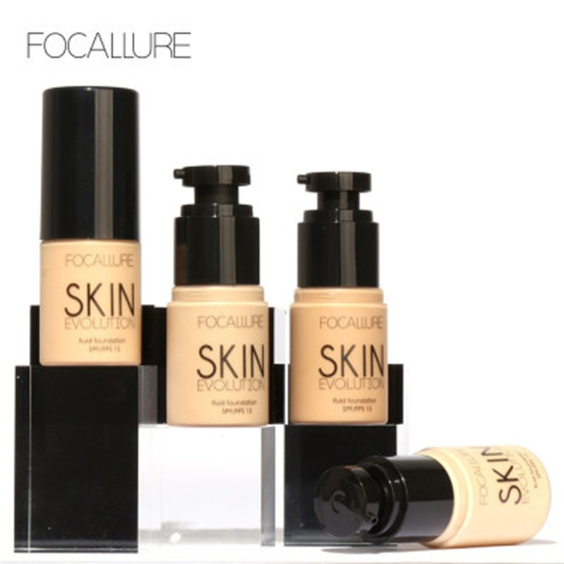 FOCALLURE Brand Liquid Foundation Face Makeup Brightener Whitening BB Cream Oil Control Foundation pump Maquiagem Beauty Kit image