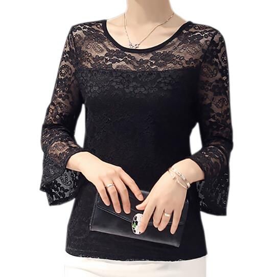 Sólido encaje blusas camisas básicas atractivas adelgazan las camisas blusas fem