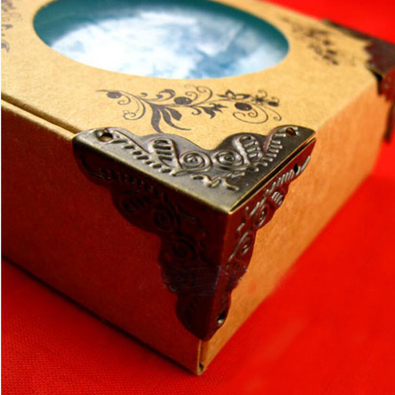 10Pcs/Set Hardware Antique Box Corner Feet Wooden Case Corner Protector Tone Flower Carved Metal Crafts Accessories