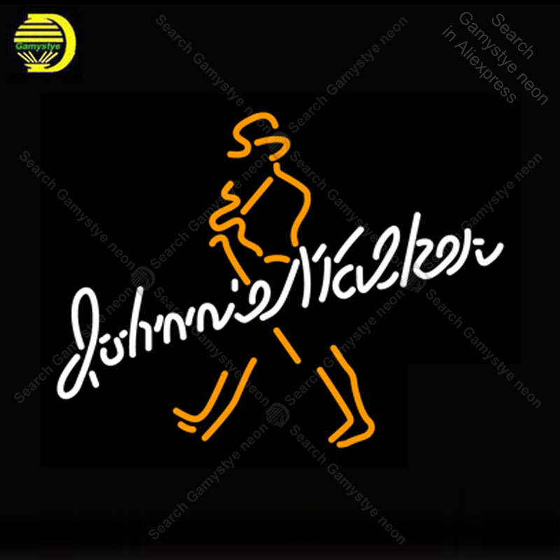 Neon Sign for Johnny Walker Whiskey neon Light Sign Decor Club Display glass Tube Handcrafted Arcade Art Neon Lamp for Beer Bar
