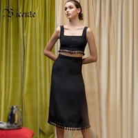 Vicente 2019 New Chic Black Two Pieces Set Tassels Design Sexy Sleeveless Celebrity Party Club Bandage Long Skirt Tops Suit