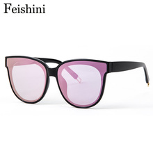 Feishini Future Fashion Colour Luxury Flat Top Cat Eye Sunglasses oculos de sol men Twin Beam Oversized Sun glasses Women UV400