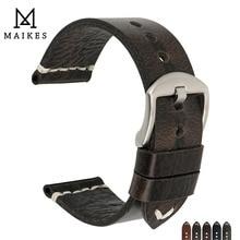 MAIKES جديد تصميم خاص النفط الشمع جلد البقر حزام (استيك) ساعة 20 مللي متر 22 مللي متر 24 مللي متر ووتش اكسسوارات حزام ساعة اليد الأسود مربط الساعة ل سايكو