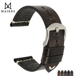 Image 1 - MAIKES جديد تصميم خاص النفط الشمع جلد البقر حزام (استيك) ساعة 20 مللي متر 22 مللي متر 24 مللي متر ووتش اكسسوارات حزام ساعة اليد الأسود مربط الساعة ل سايكو