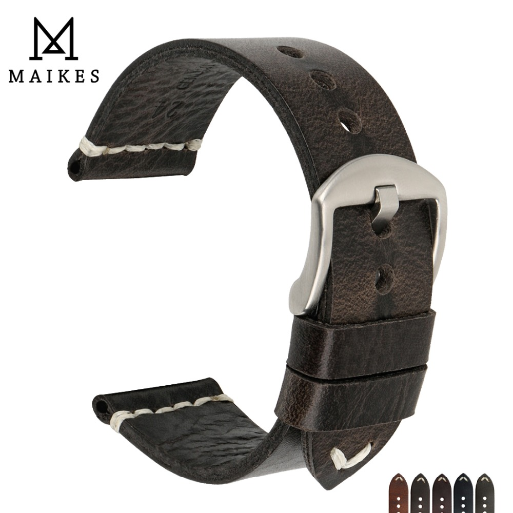 MAIKES New Design Special Oil Wax Cow Leather Watch Band 20mm 22mm 24mm Watch Accessories Watch Strap Black Watchband For SEIKO