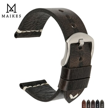 MAIKES New Design Special Oil Wax Cow Leather Watch band 20mm 22mm 24mm Watch Accessories Watch Strap Black Watchband For SEIKO genuine crazy horse leather watch band 20mm 22mm 24mm oil wax leather men s wristwatch strap for amazfit bip watch accessories