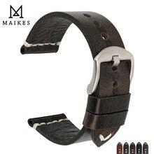 MAIKES nuovo Design speciale cinturino in pelle di mucca cerata ad olio 20mm 22mm 24mm accessori per orologi cinturino per orologio cinturino nero per SEIKO
