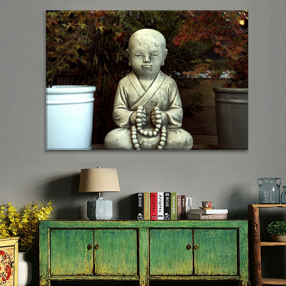 Adult Ancient Art Buddha Statue Painting 3 Piece Style High Quality Canvas Print Type Modern Home Decorative Wall Artwork Poster in Painting Calligraphy from Home Garden
