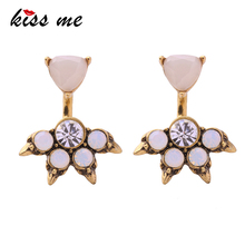 Kiss Me Brand Pink Opal Stud Earrings for Women Fashion Jewelry Charming Party Antique Gold Color Earrings
